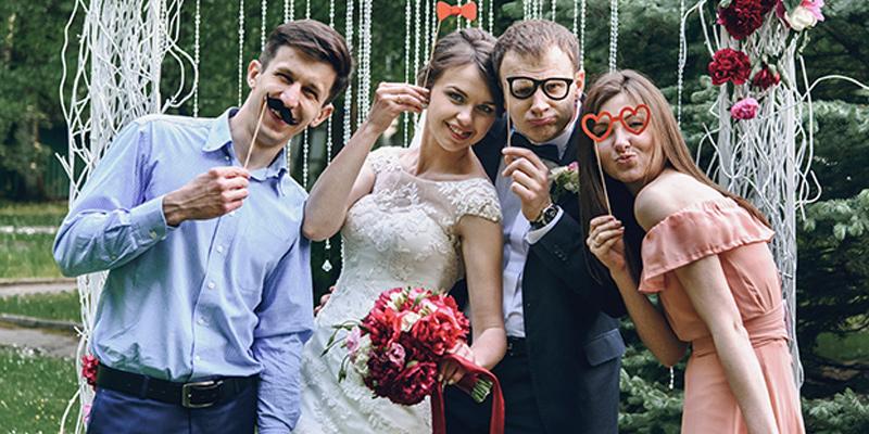 Wedding Guests At Photobooth